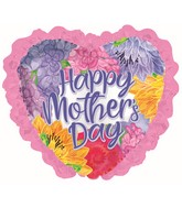 "36"" Happy Mother's Day Lavender Font Ruffle Foil Balloons"