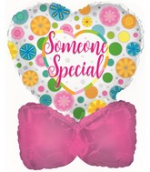 """4.5"""" Airfill Only Confetti Hearts Clear Foil Balloon"""