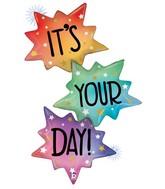 """51"""" Foil Shape Holographic Opal It's Your Day Burst Foil Balloon"""