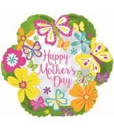 """18"""" Happy Mother's Day Butterflies Lime Border Balloon"""