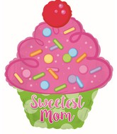"""14"""" Airfill Only Sweetest Mom Cupcake Foil Balloon"""