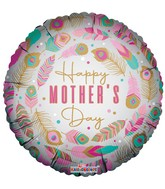 """18"""" Happy Mother's Day Feathers Matte Foil Balloon"""