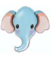 "39"" Elephant Head Blue Foil Balloon"