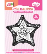 "19"" Happy Birthday Black/Silver Star Hebrew Foil Balloon"