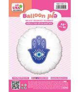 "18"" Hamsa White Round Hebrew Foil Balloon"