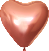 "12"" Kalisan Latex Heart Balloons Mirror Rose Gold (50 Per Bag)"