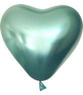 "12"" Kalisan Latex Heart Balloons Mirror Green (50 Per Bag)"
