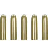 260 Kalisan Twisting Latex Balloons Mirror Gold (50 Per Bag)