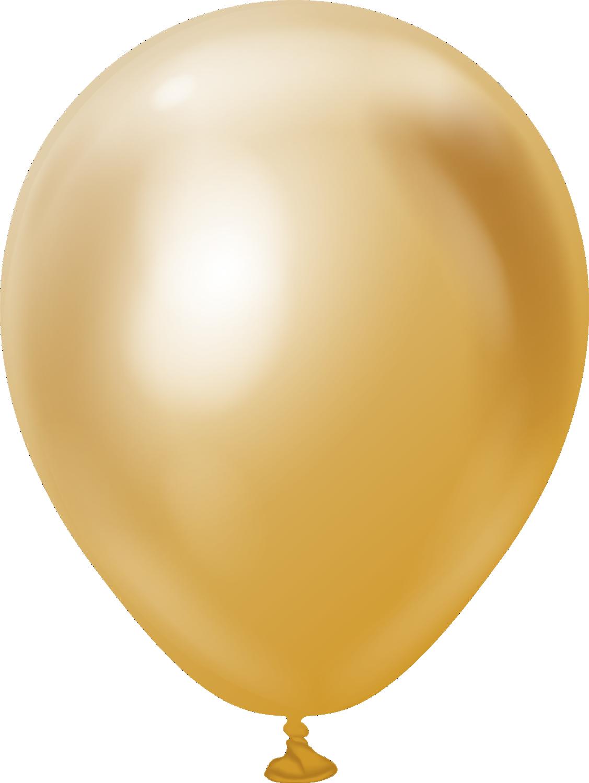 "5"" Kalisan Latex Balloons Mirror Gold (50 Per Bag)"