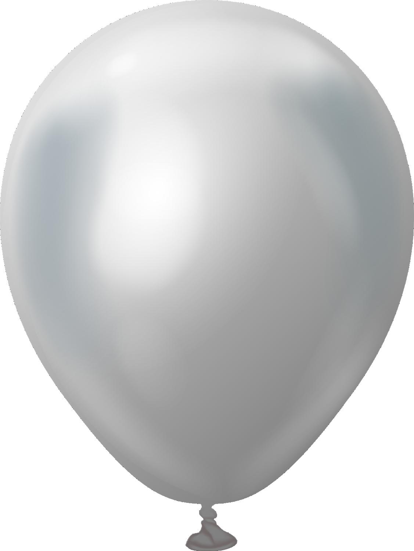"5"" Kalisan Latex Balloons Mirror Silver (50 Per Bag)"