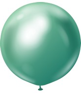 "24"" Kalisan Latex Balloons Mirror Green (5 Per Bag)"