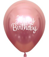 "12"" Mirror Happy Birthday Pink Latex Balloons (25 Per Bag) 2 Side Print"