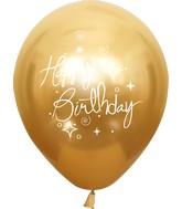 "12"" Mirror Happy Birthday Gold Latex Balloons (25 Per Bag) 2 Side Print"