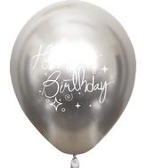 "12"" Mirror Happy Birthday Silver Latex Balloons (25 Per Bag) 2 Side Print"