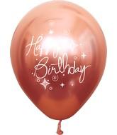 "12"" Mirror Happy Birthday Rose Gold Latex Balloons (25 Per Bag) 2 Side Print"