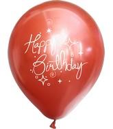 "12"" Mirror Happy Birthday Red Latex Balloons (25 Per Bag) 2 Side Print"