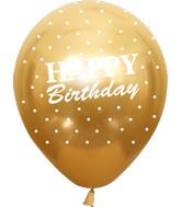 "12"" Mirror Happy Birthday All Around Gold Latex Balloons (25 Per Bag) 5 Side Print"