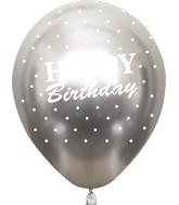 "12"" Mirror Happy Birthday All Around Silver Latex Balloons (25 Per Bag) 5 Side Print"
