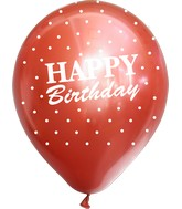 """12"""" Mirror Happy Birthday All Around Red Latex Balloons (25 Per Bag) 5 Side Print"""