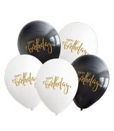 "12"" Happy Birthday Black/White Balloons Gold Print Latex Balloons (25 Per Bag) 2 Side Print"