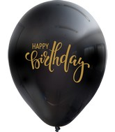 "12"" Happy Birthday Black Balloon Gold Print Latex Balloons (25 Per Bag) 2 Side Print"