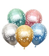 """12"""" Mirror Happy Birthday All Around Assorted Latex Balloons (25 Per Bag) 5 Side Print"""