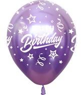 "12"" Mirror Happy Birthday All Around Violet Latex Balloons (25 Per Bag) 5 Side Print"