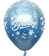 "12"" Mirror Happy Birthday All Around Blue Latex Balloons (25 Per Bag) 5 Side Print"