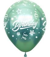 "12"" Mirror Happy Birthday All Around Green Latex Balloons (25 Per Bag) 5 Side Print"