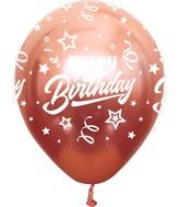 "12"" Mirror Happy Birthday All Around Rose Gold Latex Balloons (25 Per Bag) 5 Side Print"