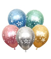 """12"""" Mirror Stars All Around Assorted Latex Balloons (25 Per Bag) 5 Side Print"""