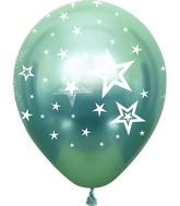 "12"" Mirror Stars All Around Green Latex Balloons (25 Per Bag) 5 Side Print"