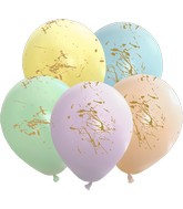 "12"" Macaron Splashes All Around Assorted Gold Print Latex Balloons (25 Per Bag) 5 Side Print"