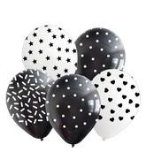 "12"" Black/White Pattern All Around Latex Balloons (25 Per Bag) 5 Side Print"