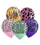 "12"" Assorted Safari All Around Latex Balloons (25 Per Bag) 5 Side Print"