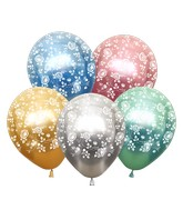 """12"""" Mirror Assorted Damask Flower All Around Latex Balloons (25 Per Bag) 5 Side Print"""