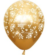 """12"""" Mirror Gold Damask Flower All Around Latex Balloons (25 Per Bag) 5 Side Print"""