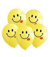 "12"" Yellow Smiley Kiss 2 Color Print Latex Balloons (25 Per Bag) 2 Color Print"