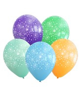 """12"""" Assorted Fireworks All Around Latex Balloons (25 Per Bag) 5 Side Print"""