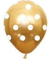 "12"" Metallic Gold Polka Dots All Around Latex Balloons (25 Per Bag) 5 Side Print"