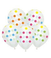 "12"" Crystal Clear Polka Dots All Around Latex Balloons (25 Per Bag) 5 Side Print"
