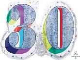 "26"" Holographic SuperShape Sparkles Number 30 Foil Balloon"