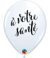 "11"" Latex Balloons White (50 Per Bag) Simplement A Votre Sante (Cheers)"