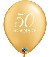 """11"""" Latex Balloons Gold (50 Per Bag) 50 Ans"""
