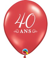 """11"""" Latex Balloons Ruby Red (50 Per Bag) 40 Ans"""
