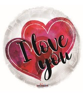 """4"""" Airfill Only I Love You Watercolor Hearts Foil Balloon"""