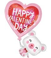 "31"" SuperShape Floating Valentine's Bear Foil Balloon"