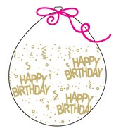 """18"""" Stuffing Balloons (25 Per Bag) Decomex Clear HAPPY BIRTHDAY with GOLD INK"""