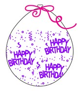 """18"""" Stuffing Balloons (25 Per Bag) Decomex Clear HAPPY BIRTHDAY with VIOLET INK"""