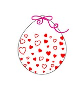 """18"""" Stuffing Balloons (25 Per Bag) Decomex Clear HEART with RED INK"""